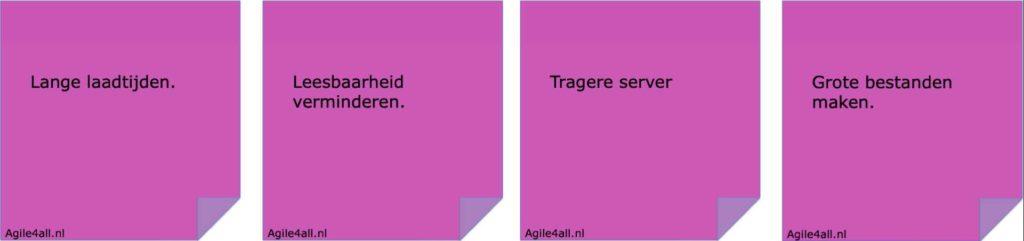 Negatieve brainstorm- Stap 3 - verzamel negatieve ideeën - voorbeelden