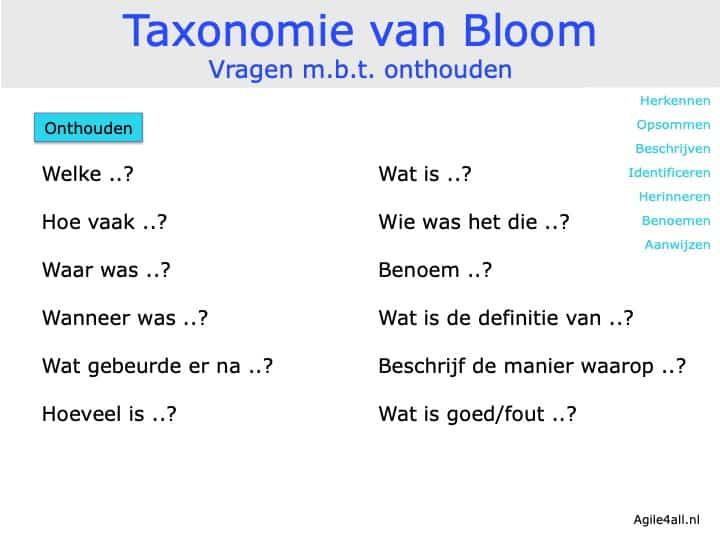Taxonomie van Bloom - Vragen mbt onthouden