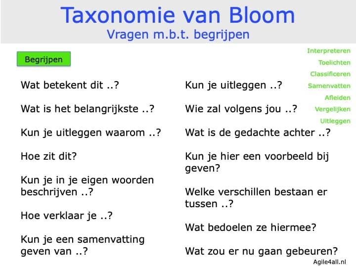 Taxonomie van Bloom - vragen mbt begrijpen