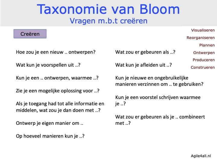Taxonomie van Bloom - vragen mbt creëren
