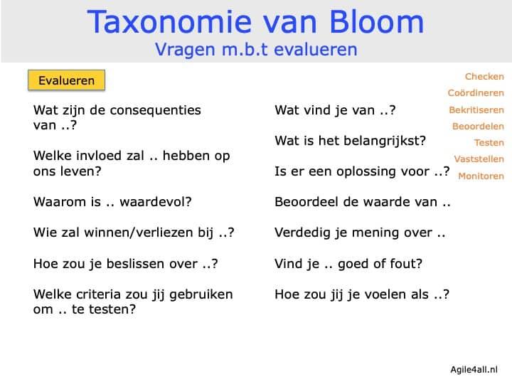 Taxonomie van Bloom - vragen mbt evalueren