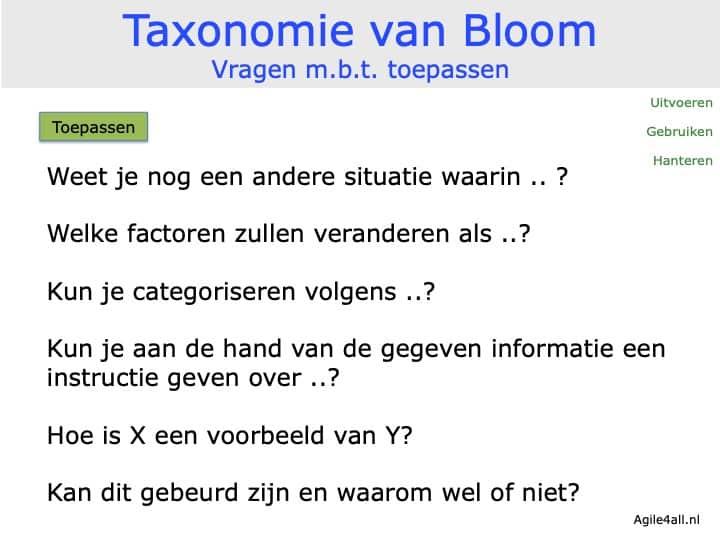 Taxonomie van Bloom - vragen mbt toepassen