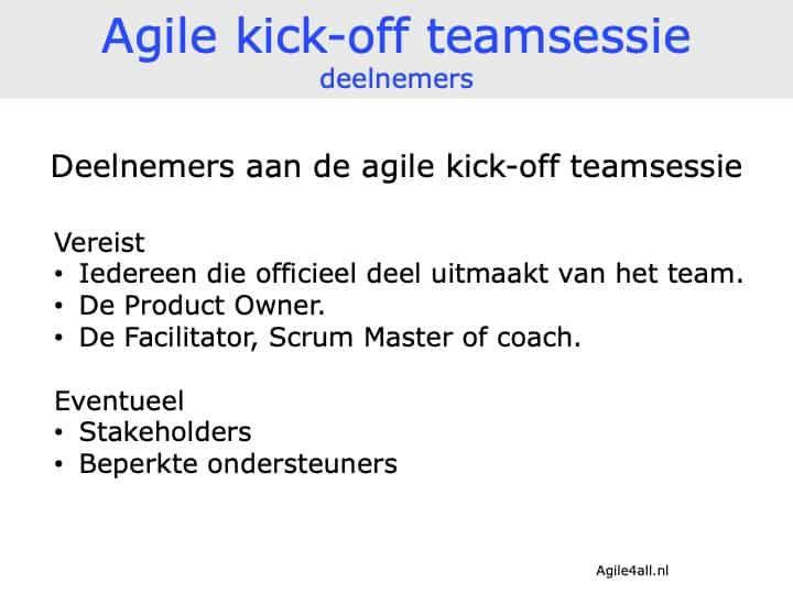 agile kick-off teamsessie - deelnemers