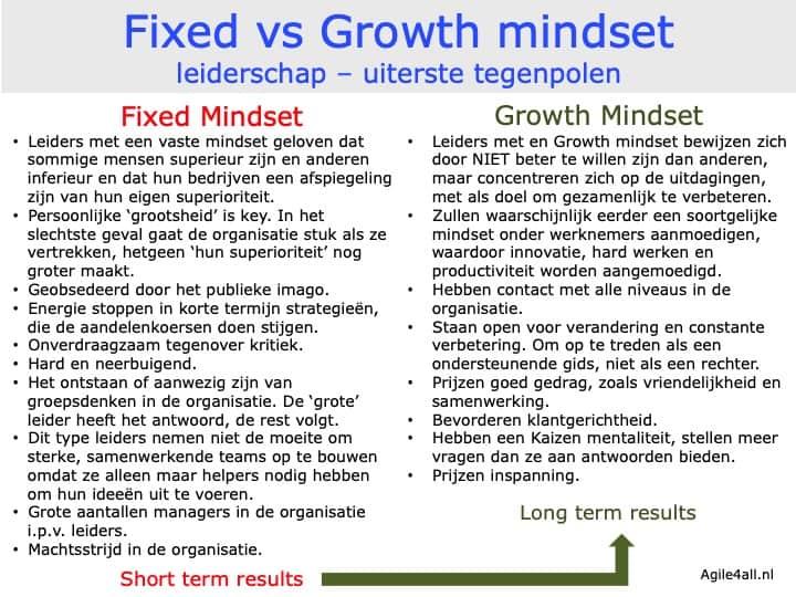 Fixed vs growth mindset - leiderschap - uiterste polen