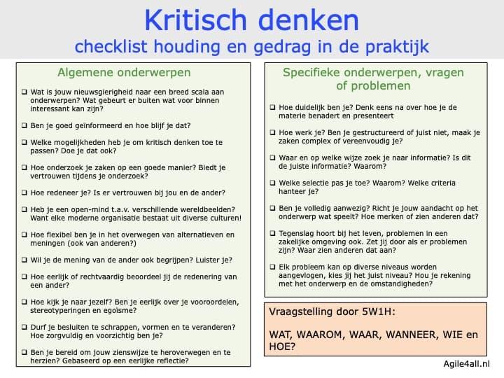 Kritisch denken - checklist houding en gedrag in de praktijk